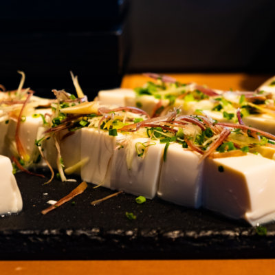 Fresh agedashi tofu, sourced locally.
