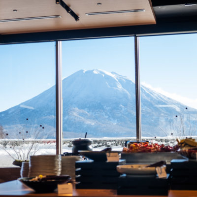 Enjoy free daily breakfast with an incredible Yotei view