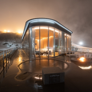 Dramatic night time scenes from your private rotenburo fed with natural onsen water.