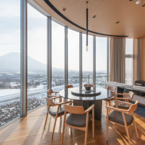 The main focus of the living area is Mt Yotei.