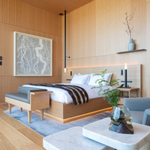 Soothing wood finishes and one of a kind art in each bedroom.